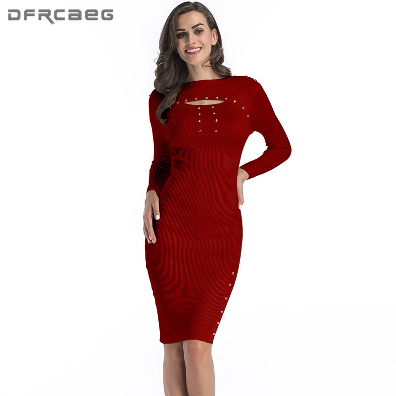 Knitted Women Bodycon Dress Clothing 2018 Autumn Fashion Long Sleeve Casual Sexy Hallow Out Woman Sweater Dresses With Beading long sleeve bodycon dress with slits