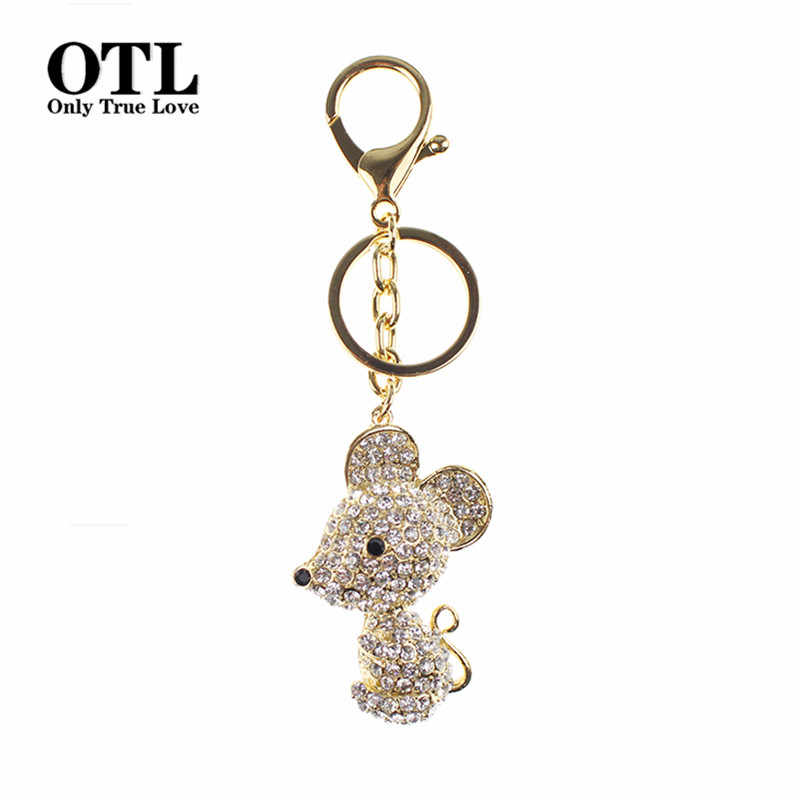 2016 Lovely Mouse Crystal Rhinestone Metal Bag Pendant Keyring Keychain Animal Keyrings Charm Jewelry For Women