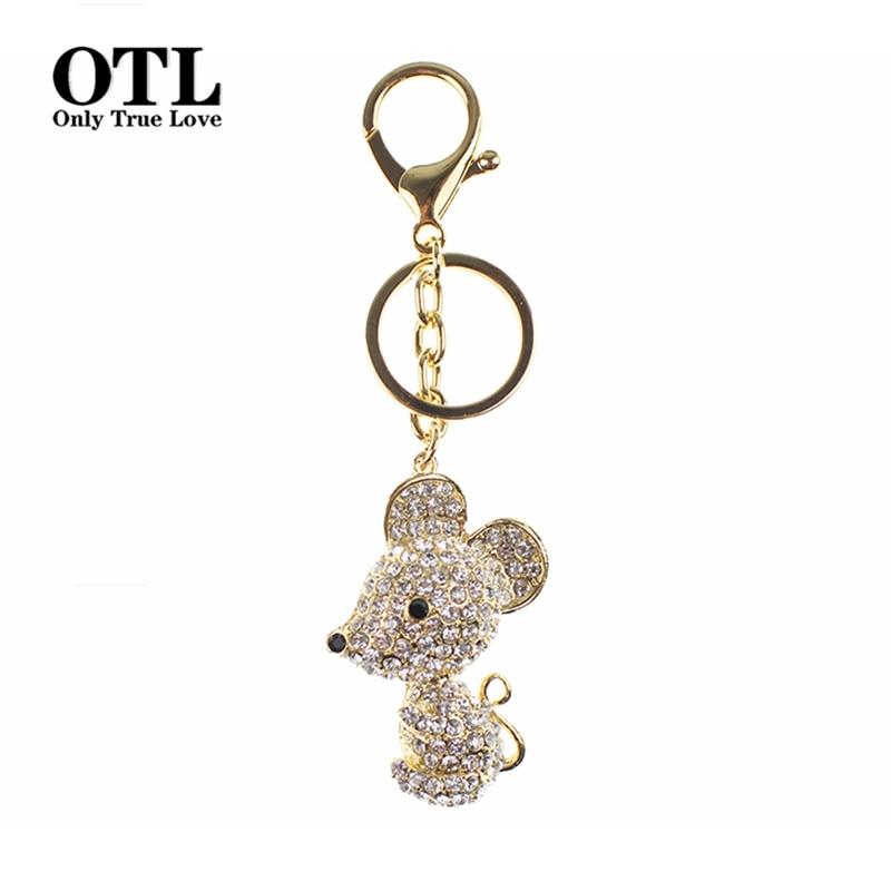 2016 Lovely Mouse Crystal Rhinestone Metal Bag Pendant Keyring Keychain Animal Keyrings Charm Jewelry For Women
