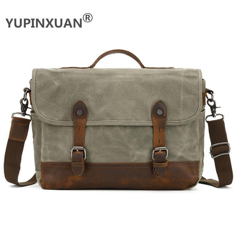 YUPINXUAN Mens Waterproof Canvas Shoulder Bags Pure Cotton Oil Wax Canvas Messenger Bag Vintage Rivets+Cow Leather Crossbody Bag