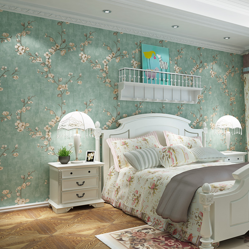 rustic bedroom green walls | American Rustic Vine Flower Wall Papers Home Decor Solid ...