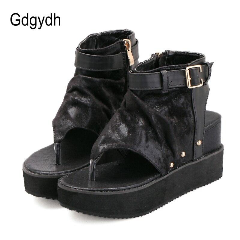 Gdgydh Summer Shoes Sandal Wedges Women 2020 New Punk Women's Leather Ankle Sandals Slingback Hollow Out Shoes Female Flip Flops