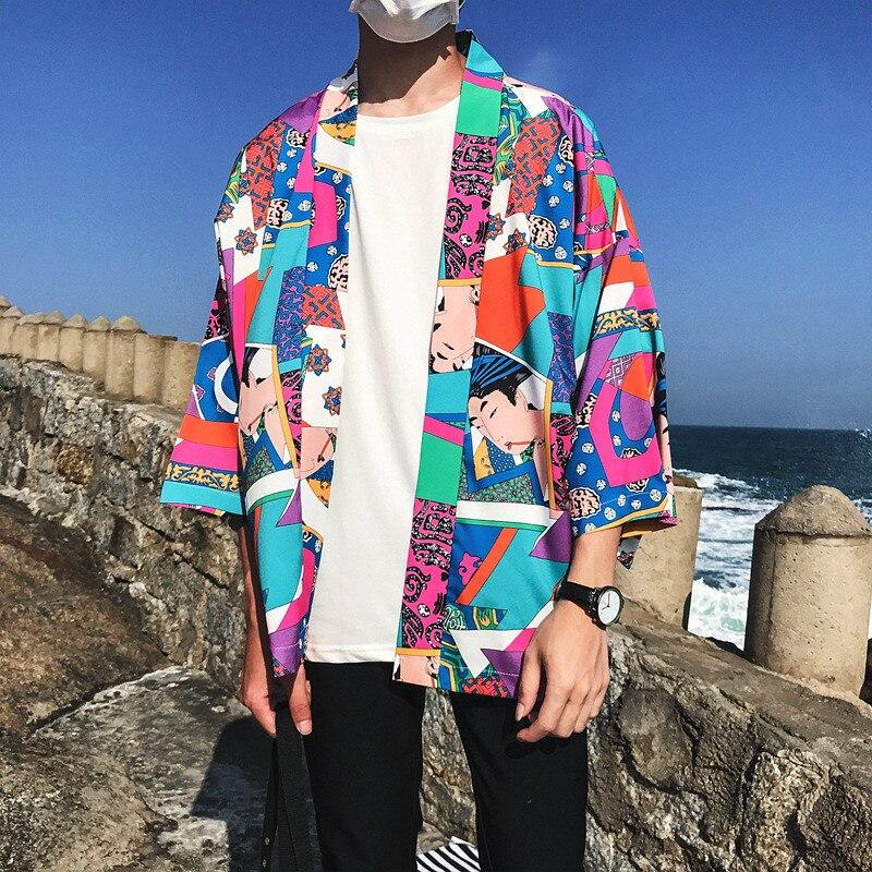 Harajuku Full Print Japanese Style Kimono Jacket Three Quarter Sleeve Men 39 s Kimono Streetwear Fashion Style Lover Tops shirt in T Shirts from Men 39 s Clothing