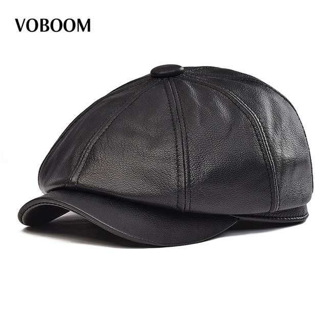 62ab0e3b024411 VOBOOM Spring Winter Black Genuine Leather Newsboy Cap Men Women Lambskin  Sheepskin Beret Hat Boina Cabbie