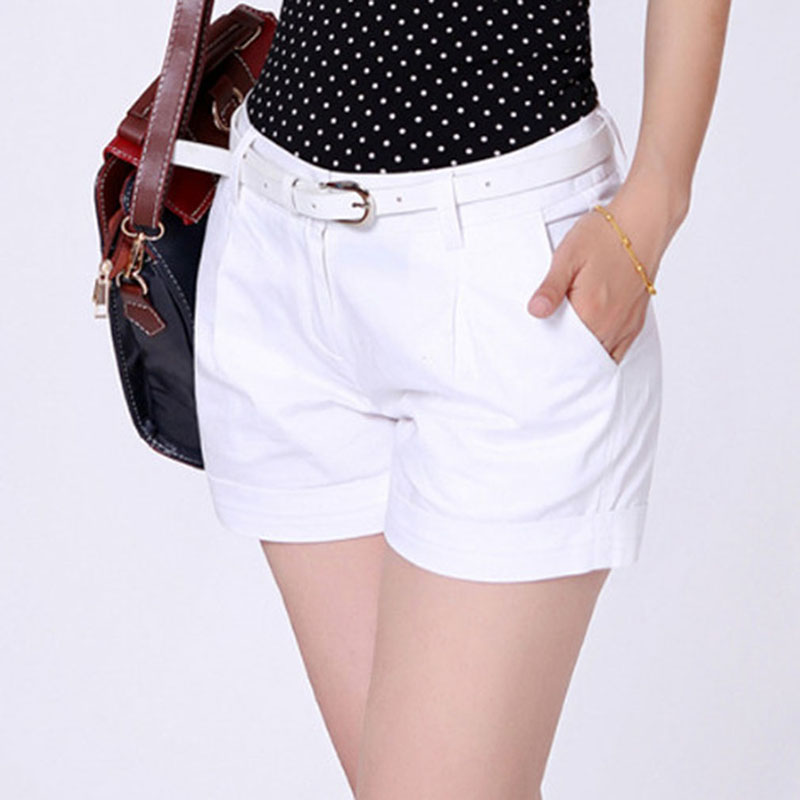 2019 Summer New Woman Shorts Ladies Casual Short Pants Fashion Office OL Solid Color Hot Pant Female Khaki&White Plus Size