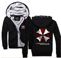Resident Evil Hoodies Umbrella Corporation Logo Zip Up Cotton Winter Fleece Super Warm Sweatshirts Coats