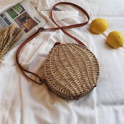 Винтаж ручной вязки круглый женская Соломенная Сумка магнитная пряжка плетеная Сумка из ротанга сумка на плечо богемная пляжная сумка