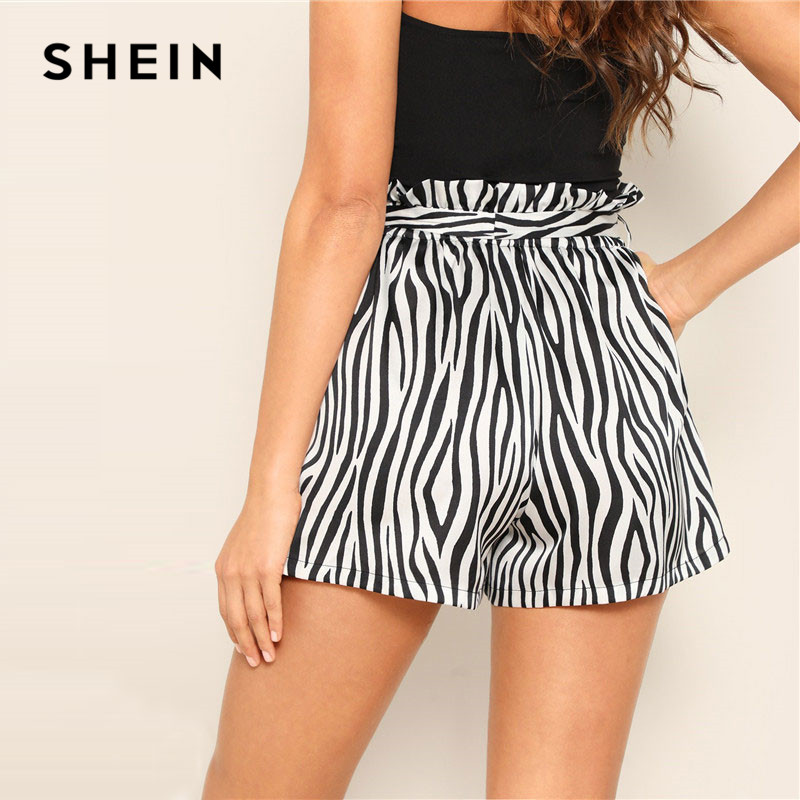SHEIN Black and White Belted Frilled Trim Waist Zebra Print   Shorts   2019 Women High Waist Loose Casual Bottom Summer   Shorts