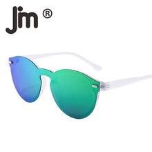ef95dee2ec JM de una pieza polarizadas gafas de sol redondas con montura para Club con  espejo de Flash de lente circular Retro Vintage gafa.