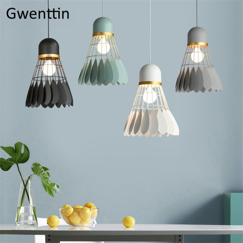 Modern Badminton Pendant Lights Industrial Hanging Lamp Macaron Lampshade for Bedroom Home Led Decor Light Fixtures LuminaireModern Badminton Pendant Lights Industrial Hanging Lamp Macaron Lampshade for Bedroom Home Led Decor Light Fixtures Luminaire