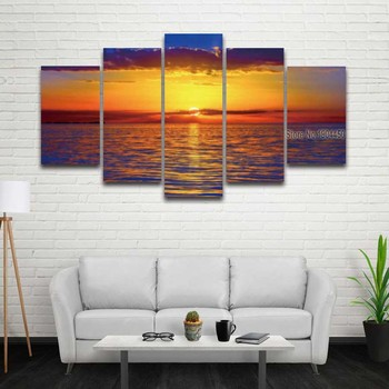 Printed seascape Canvas Painting Modular Picture for Wall Art Home Decor Living Room sunset Prints Artwork 5 panel painting