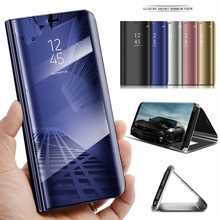 Mirror Smart Case For Huawei P Smart 2019 Y7 Y9 Y6 Pro 2019 Cover View PU