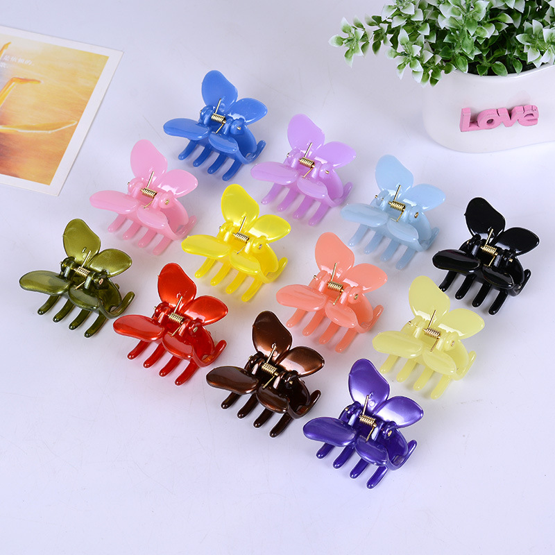 12 Pcs/Lot Fashion Women crab Hair claw clip Girls Plastic Mini Hairpin Claws Hair Clip Clamp For Women Gifts hair ornaments claws headwear accessories girls imitation crystal metal bow hair claws clip crab claw ulet hair clips for women