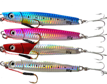 Extragreen Metal Bait Jig Lure with assist Hook 80g Weight Jigger with MUSTAD Treble Hook in colors Sea Fishing Lure Metal Bait