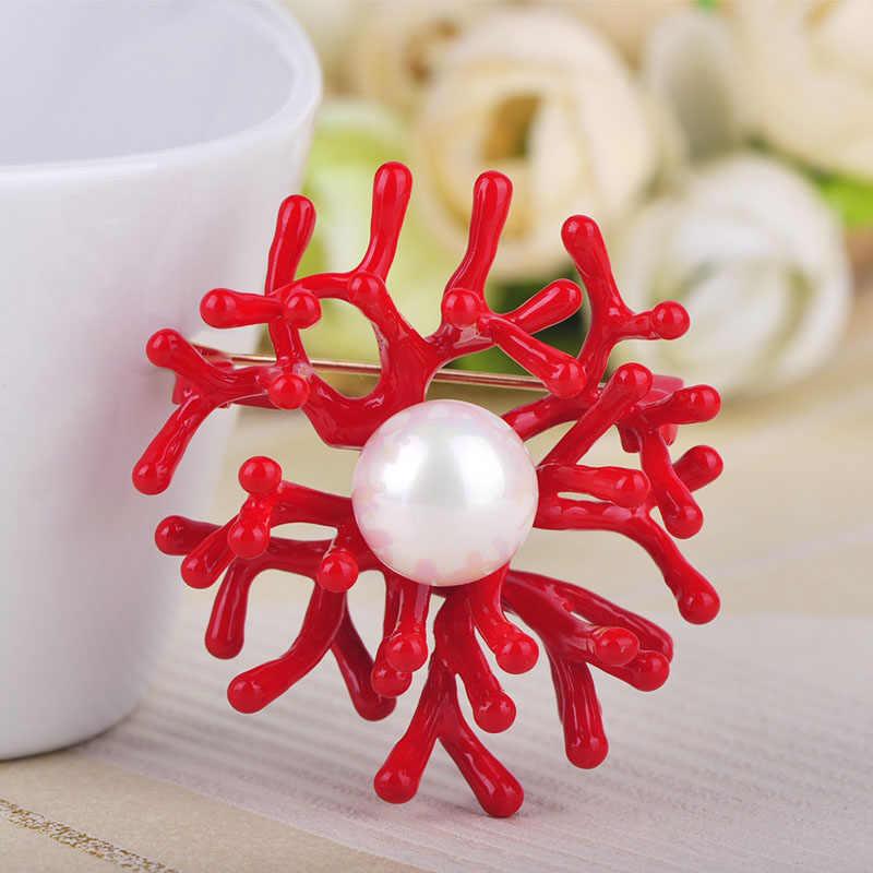 FUNMOR Rosso Dello Smalto di Corallo Del Fiore Spille Per Le Donne del Vestito Della Camicia Accessori Hijab Spilli Distintivo Imitazioni di Perle Sciarpa Fibbia Spilla