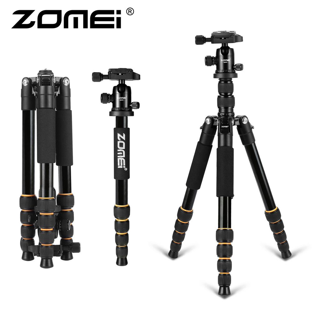ZOMEI Lightweight Portable Q666 Professional Tripod aluminum/Carbon Fiber Ball Head Monopod for digital SLR Canon DSLR Camera zomei q666 magnesium alloy portable professional photography tripod ball head monopod for canon dslr slr camera camcorder