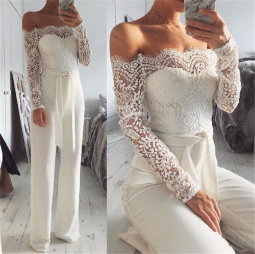 Elegant Off Shoulder Lace Rompers Womens Summer Jumpsuit Sexy Ladies Casual Long Trousers Overalls White Jumpsuit 2018