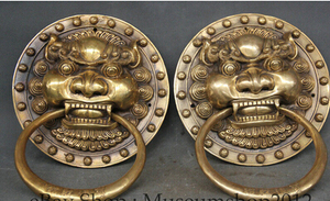 "Copper Brass CHINESE crafts decoration Asian 9 ""Chinese Brass Dragon Fu Foo Dog Guardion Lion Head Mask Door Knocker Pair(China)"