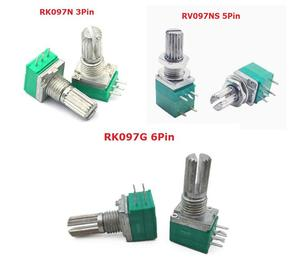 5 шт. B100K B500K B5K B10K B20K B50K RK097G RK097N RV097NS, двойной потенциометр, 3pin 5pin 6pin 3/5/6/P/Foot/pin 15 мм, бесплатная доставка