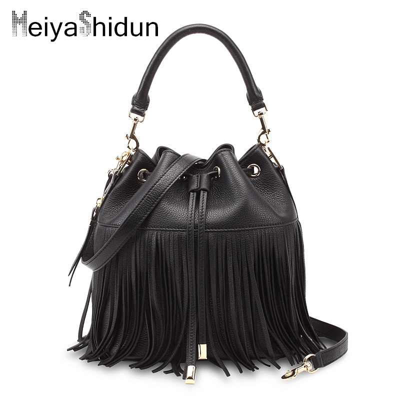 MeiyaShidun New Tassel Women Bag luxury handbags women genuine leather messenger bags famous brand design tote bucket bag bolsos купить