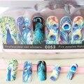 2017 1 pack de plumas de pavo real Cubierta Completa velocidad Pegajoso Pegatinas Nail Art Decoraciones sticker calcomanías belleza uñas accesorios C053