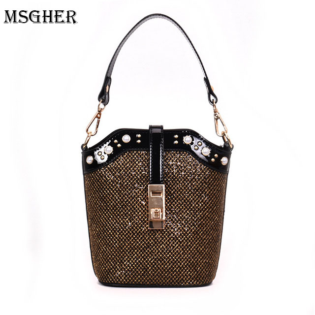 M.S Pearls Sequin Buckets Women Summer Small Shoulder Bags Female Chain Luxury Handbag Designer Messenger for Lady Clutch WB524