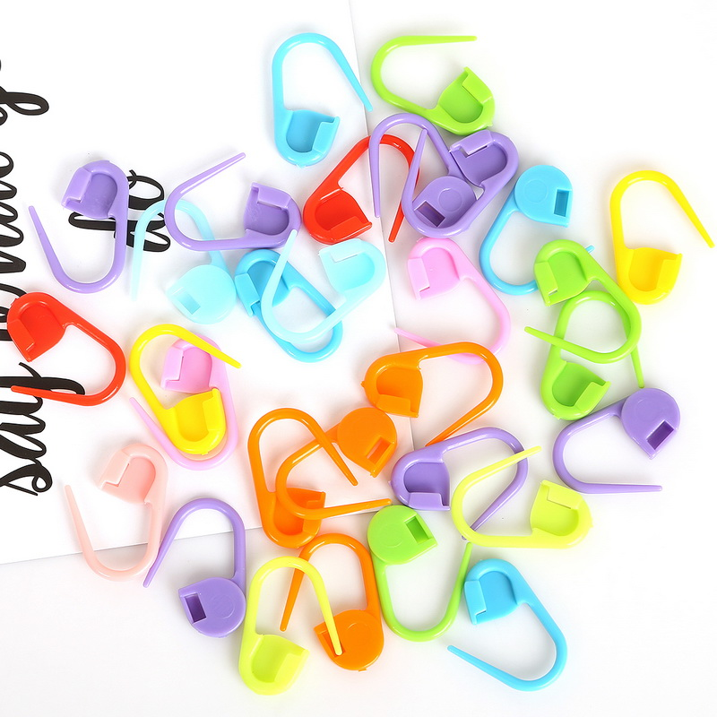 30pcs 22mm Mix Colors Locking Stitch Marker Lock Pins Plastic Ring Markers for Knitting Crochet