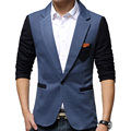 2017 Nuevo Estilo Británico de Los Hombres Blazers Patchwork Elegante Slim Fit Business Casual Hombres Chaquetas de Traje de Alta Calidad Masculina Casacas