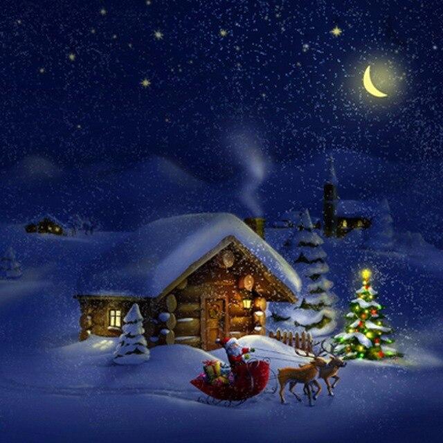 winter weihnachten schnee nachtlicht kiefer weihnachtsmann deer dorf haus kinder bett zimmer. Black Bedroom Furniture Sets. Home Design Ideas
