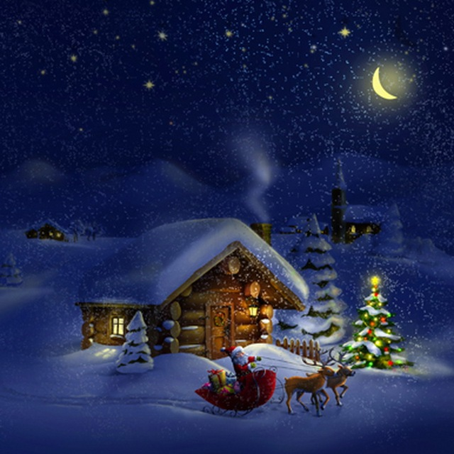 Winter Xmas Snow Night Light Pine Tree Santa Claus Deer Village House Children Bed Room Background