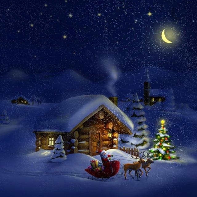 3d Snowy Cottage Animated Wallpaper Windows 7 Winter Xmas Snow Night Light Pine Tree Santa Claus Deer