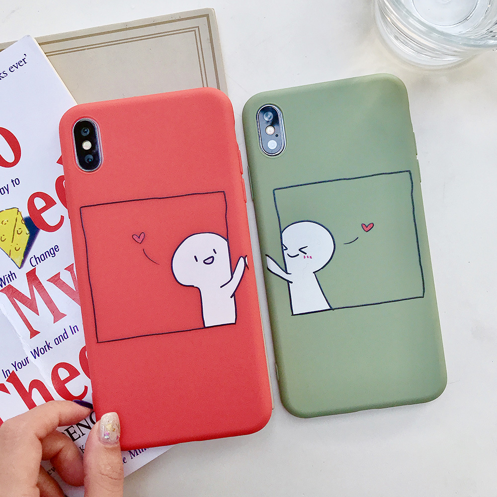 KIPX1076_2_JONSNOW Couples Style Soft Case for iPhone 7 8 6S 6 Plus Silicone Case for iPhone X XR XS Max Cartoon Painted Back Cover