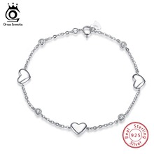 ORSA JEWELS Real 925 Sterling Silver Bracelets For Women With AAA Cubic Zircon Heart Bracelet Wedding Engagement Jewelry OSB02
