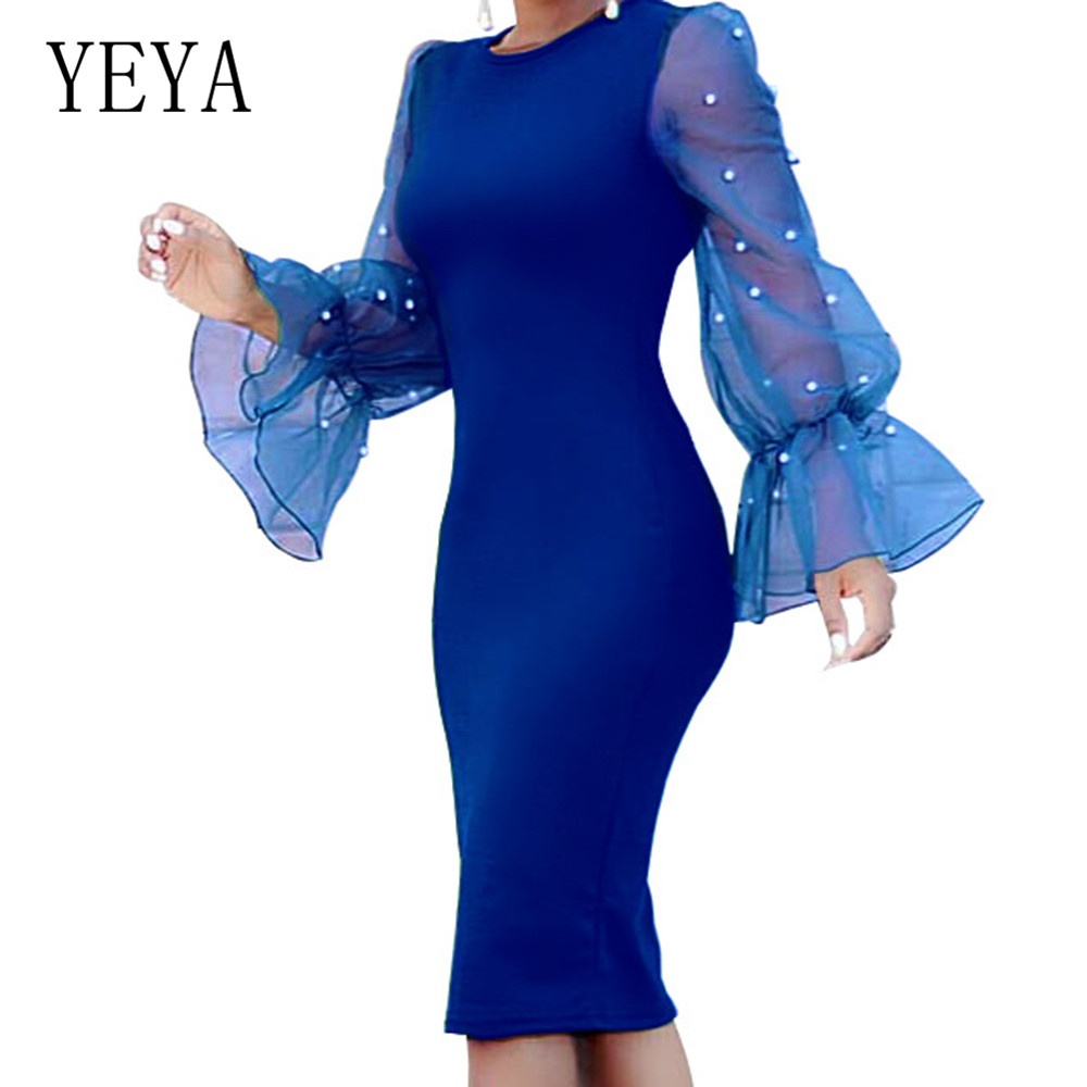 YEYA Autumn Fashion Slim Beaded Organza See Through Sexy Party Dress Women Elegant Party Female Clothing Ladies Bodycon Dress in Dresses from Women 39 s Clothing