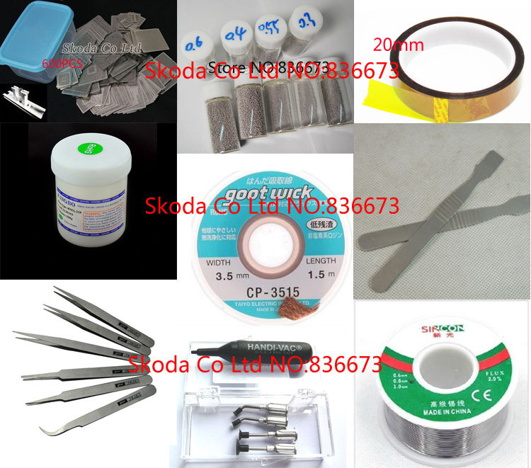 Free shipping New BGA reballing kit for Reballing station Directly Heating Stencils + 600 PCS BGA stencils Combination bga reballing rework station with hand grip for 90x90mm stencils templates new