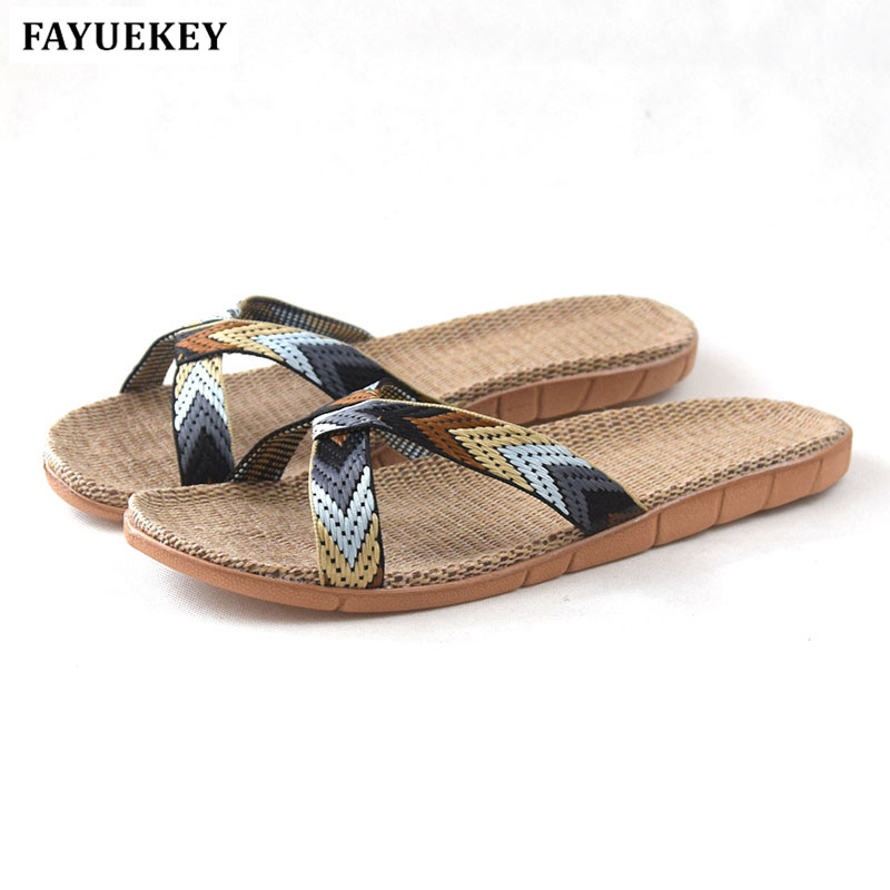 FAYUEKEY 2018 New Summer Fashion Home Linen Breathable Mixed Color Slippers Men Indoor Floor Beach Slides Boys Gift Flat Shoes coolsa new summer linen women slippers fabric eva flat non slip slides linen sandals home slipper lovers casual straw beach shoe