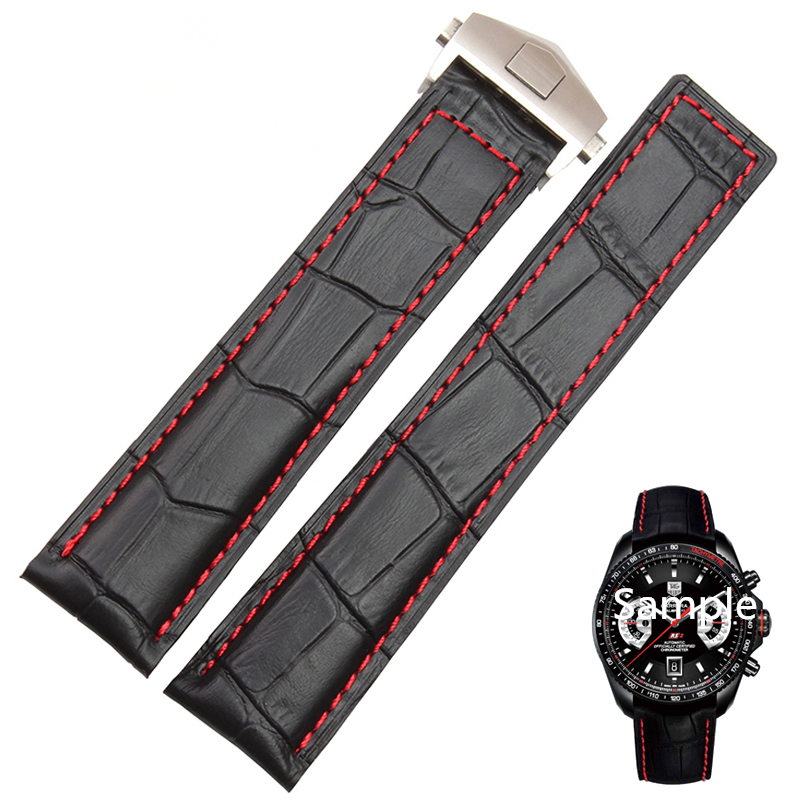 LUKENI 20mm 22mm Genuine Leather Watch Strap Black With Red Stitched Watchbands For TAG Carrera Heuer With Folding Buckle Logo 20mm 22mm black genuine leather watch bands strap bracelet brand black stainless steel clasp buckle red stitched line watchbands