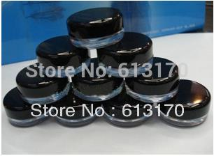 3g plastic empty cream jar face care cosmetic Container mini sample jar clear nail art powder jar balck cap free shipping