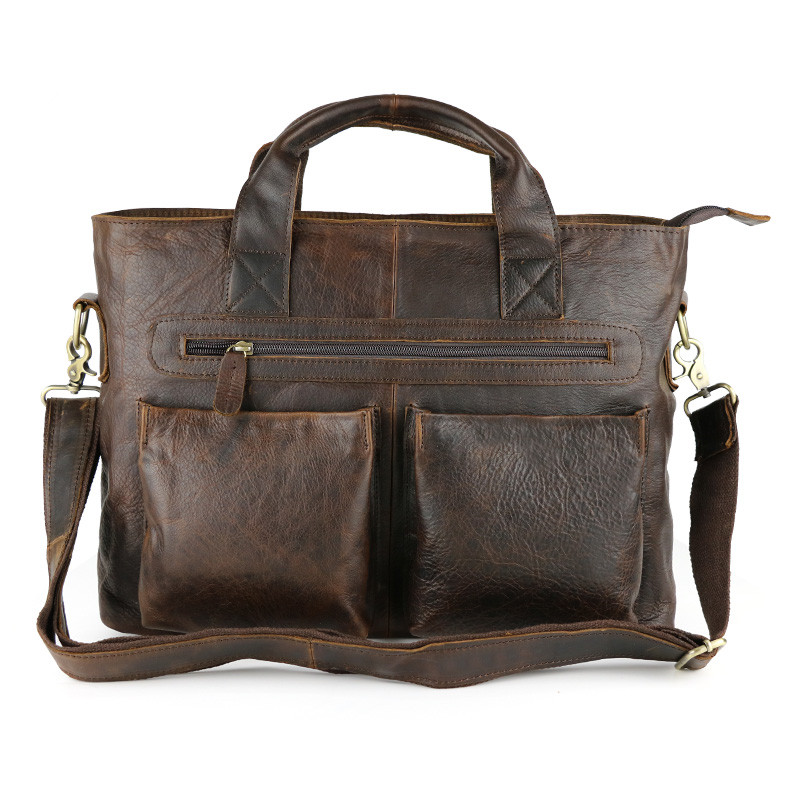 Nesitu Vintage Brown Real Skin Genuine Leather Men Briefcase Cowhide Man Messenger Bags Portfolio #M57