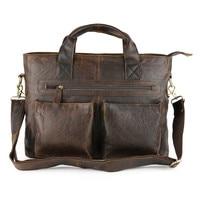 Nesitu Vintage Brown Real Skin Genuine Leather Men Briefcase Cowhide Man Messenger Bags Portfolio M57