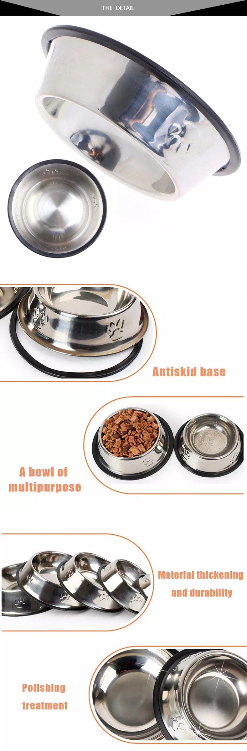 SUPREPET Stainless Steel Non-slip Feeding Bowl For Pets Anti-fall And Anti-bite Dog Bowl And Cat Anti-fall  Feeding Bowl 10