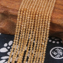 2mm 3mm Natural Round Faceted Citrine Yellow Crystal Quartz Gemstone Beads DIY Accessories for Jewelry Necklace Bracelet Making