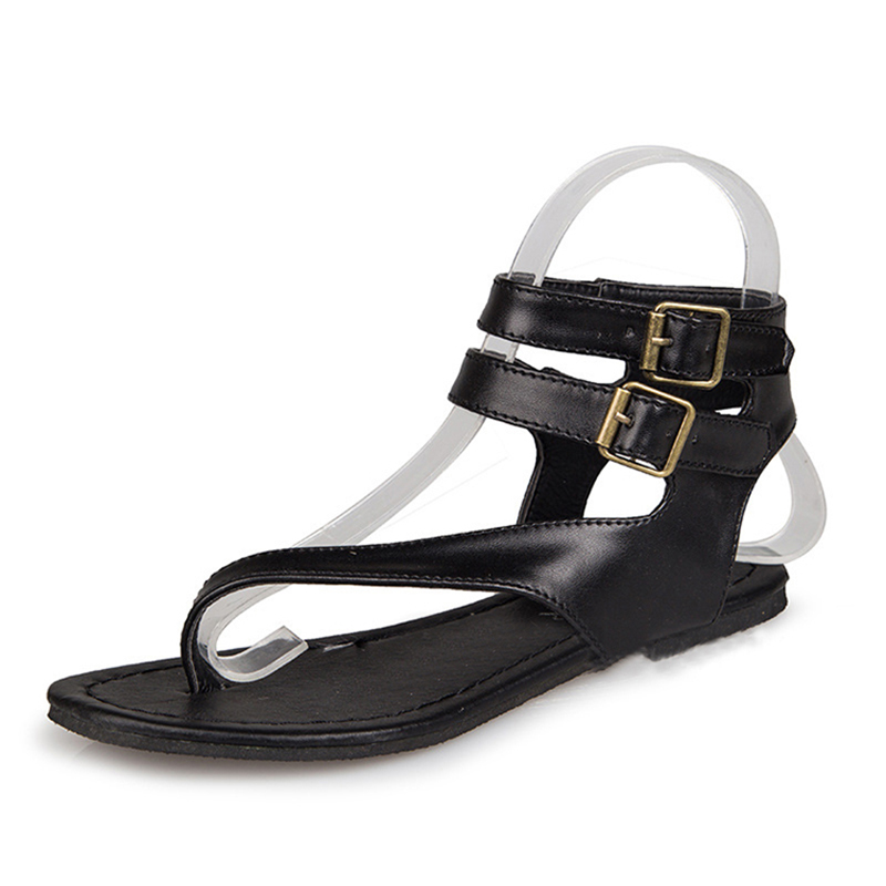 sandals Womens 2018 Fashion Cork Sandals Casual Summer Gladiator Buckle Strap Shoes Flat Flip-flops