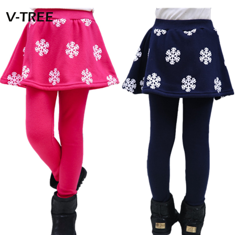 Girls Leggings Winter Fleece Pant Skirt For Girl 8 10 12 Years Girls Leggings Kids Fashion Snow Snowflake Pant Children Leggings недорго, оригинальная цена