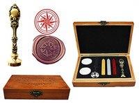 Vintage Compass Custom Luxury Wax Seal Sealing Stamp Brass Peacock Metal Handle Sticks Melting Spoon Wood