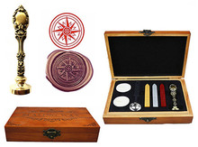 Vintage Compass Custom Luxury Wax Seal Sealing Stamp Brass Peacock Metal Handle Sticks Melting Spoon Wood Gift Box Set