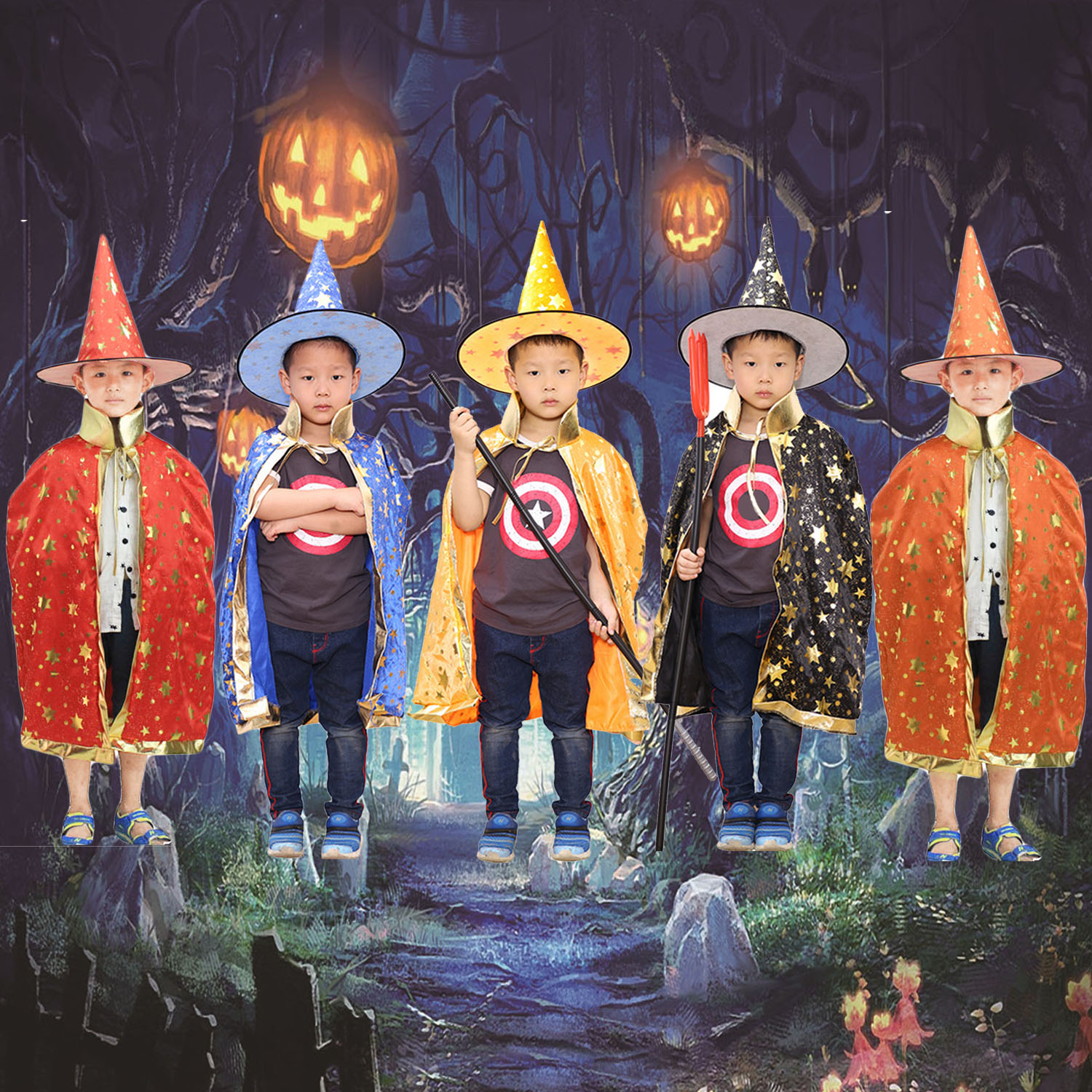 Satkago Kid Boys Girls Halloween Costumes Witch Wizard Cloak Cape with Hat Halloween Role Play Dress-up Supplies