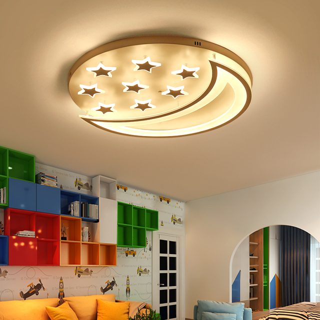 Star And Moon Children Kids Room Bedroom Living Room Ceiling Lights Home  Deco Modern Led Ceiling