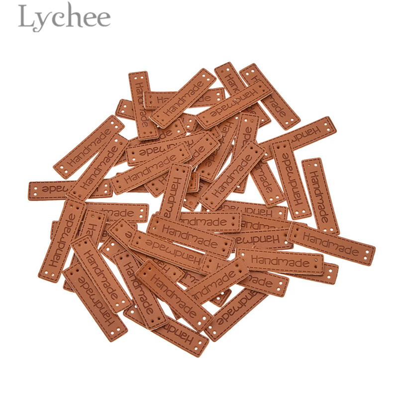 Lychee 50pcs Handmade Letter Pattern PU Leather Tags Rectangle Embossed Label DIY Flag Labels For Garment Sewing Accessories