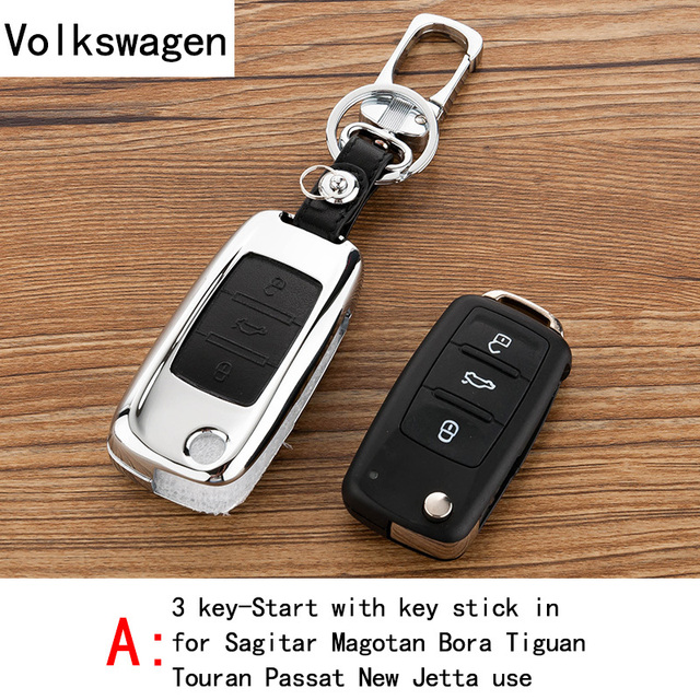 Genuine Leather CAR KEY CASE For VOIKSWAGEN SAGITAR MAGOTAN BORA TIGUAN TOURAN Use Automobile Special-purpose CAR KEY HOLDE